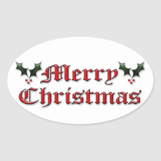 Merry Christmas - Holly Oval Sticker