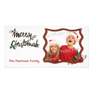 Merry Christmas Holly Photo Card