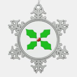 Merry Christmas Holly Snowflake Ornament