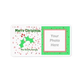 Merry Christmas Holly Stars Photo Frame Address Label