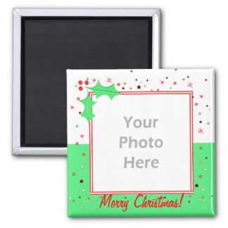 Merry Christmas Holly Stars (photo frame) Square Magnet