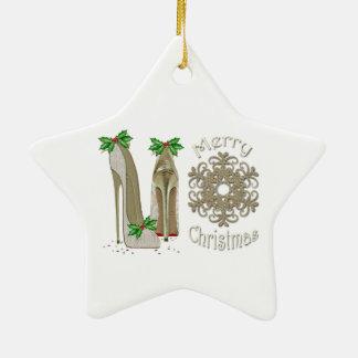Merry Christmas Holly Stiletto Snowflake Art Ceramic Star Decoration