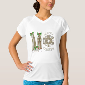 Merry Christmas Holly Stiletto Snowflake T-Shirt