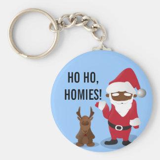 Merry Christmas Homeboys: Black Santa & Blingin' Basic Round Button Key Ring