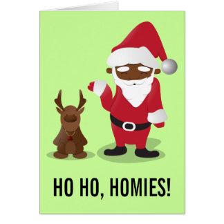 Merry Christmas Homeboys: Black Santa & Blingin' Greeting Card