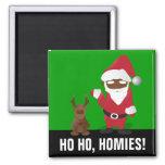 Merry Christmas Homeboys: Black Santa & Blingin' Square Magnet