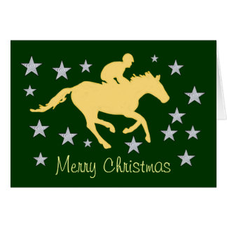 Merry Christmas Horse and Stars Greeting Card
