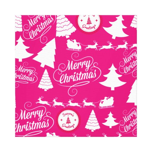 Merry Christmas Hot Pink Holiday Xmas Design Gallery Wrapped Canvas