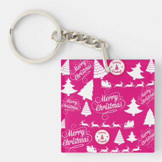 Merry Christmas Hot Pink Holiday Xmas Design Double-Sided Square Acrylic Key Ring