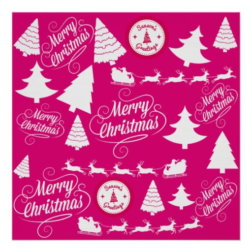 Merry Christmas Hot Pink Holiday Xmas Design Posters
