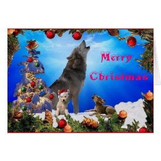 Merry Christmas Howling Wolves card