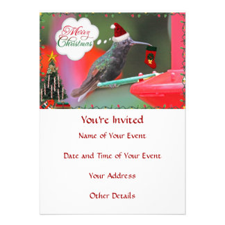 Merry Christmas Hummingbird Custom Announcement