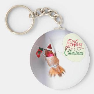 Merry Christmas Hummingbird with Xmas Stocking Key Chains