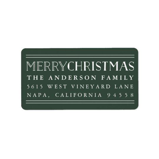 Merry Christmas | Hunter Green Return Address Address Label