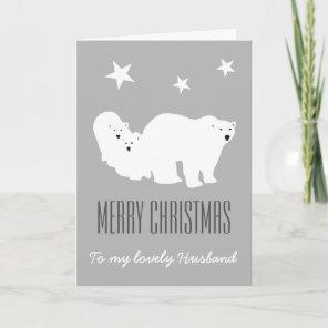 Merry Christmas Husband Polar Bears Card
