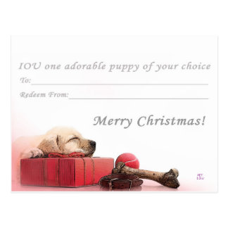 Merry Christmas I.O.U a puppy Postcard
