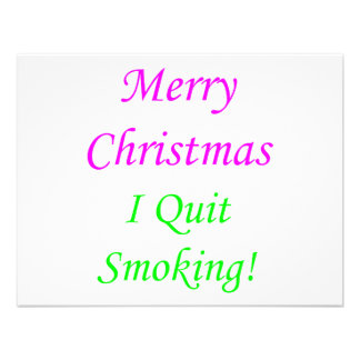 Merry Christmas I Quit Smoking 2 Custom Invitations