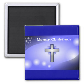 Merry Christmas Ice Blue Glowing Cross Square Magnet