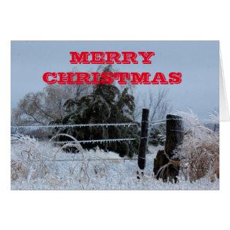 Merry Christmas Icy Kansas Fence  Greeting Card