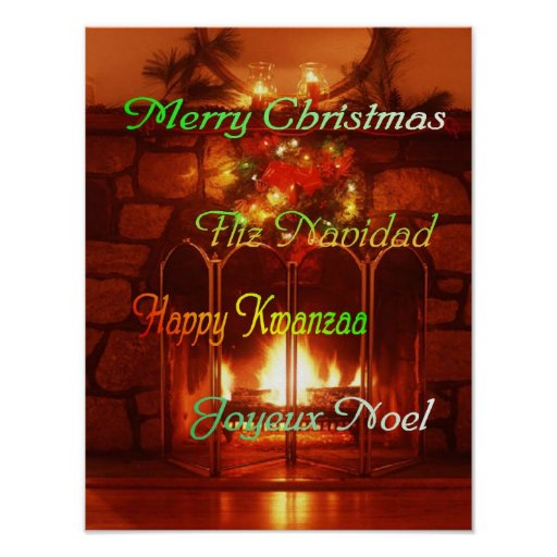 Merry Christmas, in 4 languages, poster
