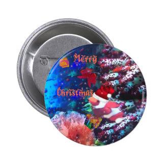 Merry Christmas in aquarium 6 Cm Round Badge