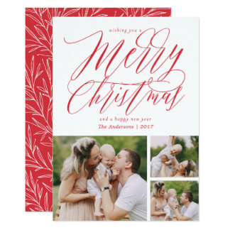 Merry Christmas in Bold Red 3-Photo Card