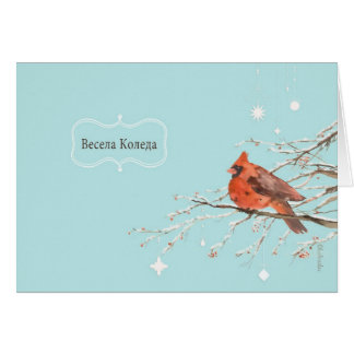 Merry Christmas in Bulgarian, red cardinal bird Card