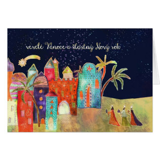 Merry Christmas in Czech, three wise men Card