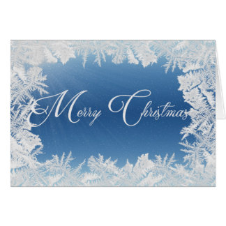 Merry Christmas in frosty frame Greeting Card