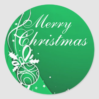 MERRY CHRISTMAS in GREEN by SHARON SHARPE Round Sticker