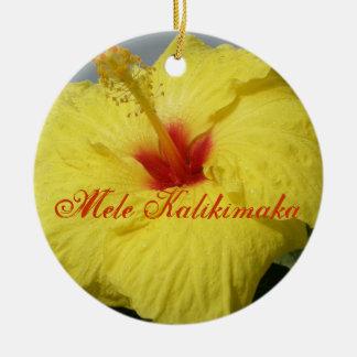 Merry Christmas in Hawaiian Round Ceramic Decoration