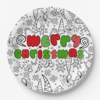 """Merry Christmas"" in kid's drawnings style Paper Plate"