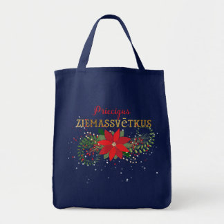 Merry Christmas In Latvian Floral Tote Bag