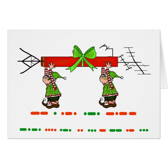 Merry Christmas in Morse Code + Elves & Antenna Card