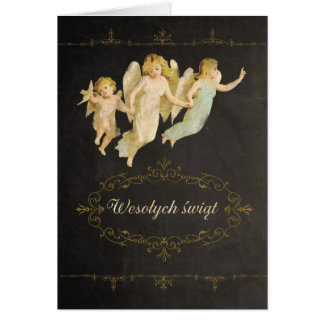Merry Christmas in Polish, angels Greeting Card
