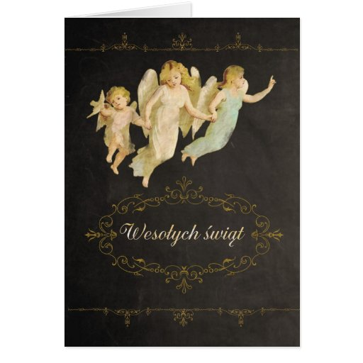 Merry Christmas in Polish, angels Card