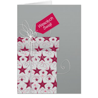 Merry Christmas in Polish, Wesołych Świąt, star Greeting Card