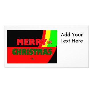 Merry Christmas in Rasta Colors Personalised Photo Card