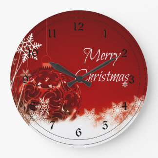 Merry Christmas in Red and White Wallclock
