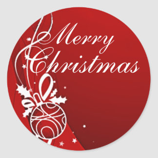 MERRY CHRISTMAS in RED by SHARON SHARPE Round Sticker