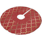 Merry Christmas in Red & Gold Quatrefoil Brushed Polyester Tree Skirt