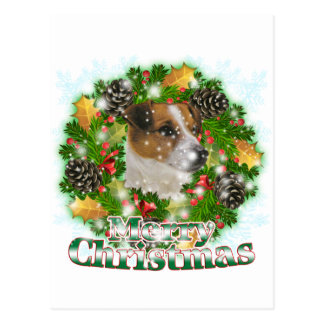 Merry Christmas Jack Russell Postcard