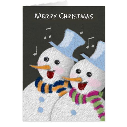 Merry Christmas Jolly Singing Snowmen Couple Greeting Card