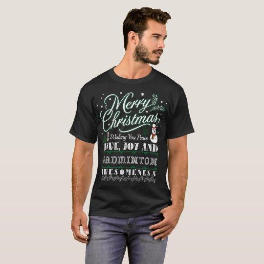Merry Christmas Joy Badminton Outdoors Gift Tshirt