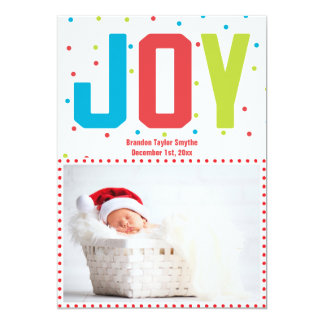 Merry Christmas Joy New Baby Photo Card