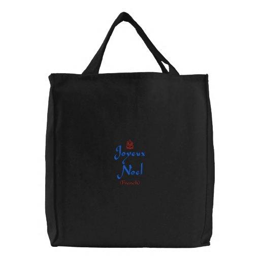 Merry Christmas Joyeux Noel In Black Embroidered Bag