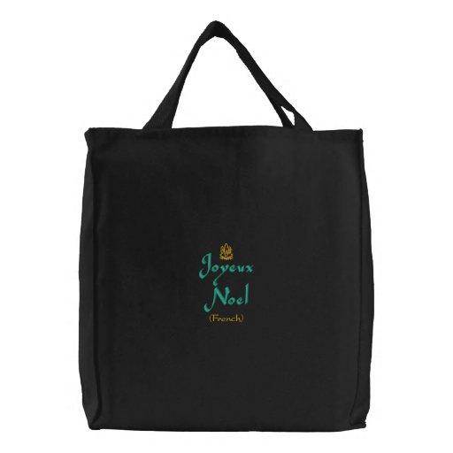 Merry Christmas Joyeux Noel In Black II Embroidered Bags