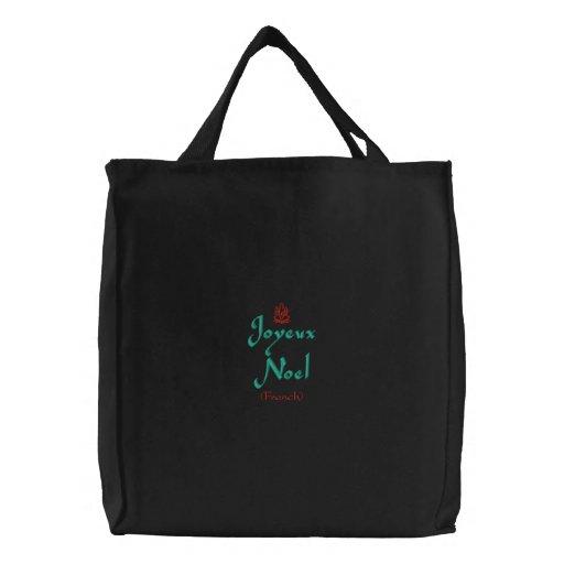 Merry Christmas Joyeux Noel In Black II Embroidered Tote Bags