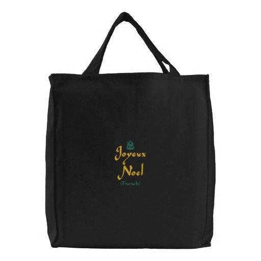 Merry Christmas Joyeux Noel In Black III Embroidered Tote Bags