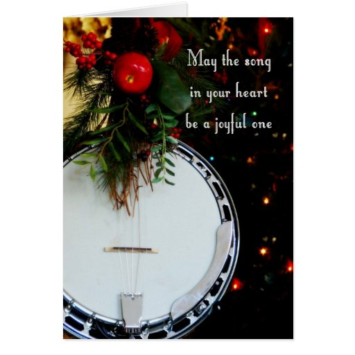 Merry Christmas Joyful Song Holiday Banjo Cards